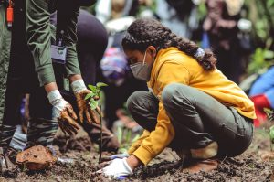 young girl planting a tree in covid times